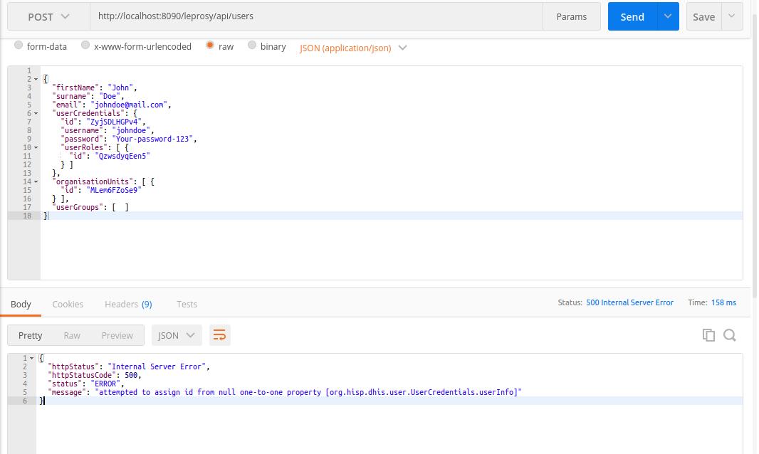 Error when creating users through API 2 26 : Mailing list